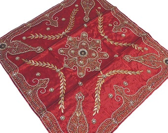 Hand Beaded and Zardozi Embroidered Burgundy Dupion Art Silk Tablecloth Table Overlay Topper from India, 40in - NH14987