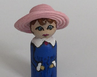 Wooden Peg Doll with Pink Hat