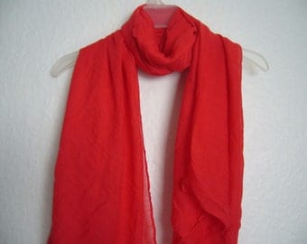 Bright Red Scarf, For Her, Red Scarf, Spring, Summer, Autumn Scarf,