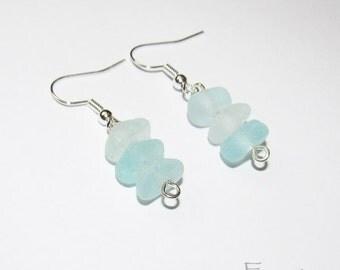 Seaglass earrings - seafoam genuine seaglass earrings from seaglass beach glass earrings beach earrings cute earrings blue earrings (SGE-3)