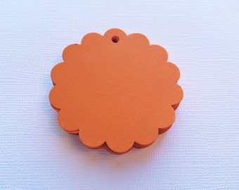25 Orange Scallop Hang Tags, Paper Die Cuts, Punches - 2""