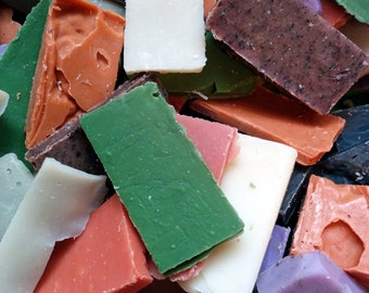 Soap Scraps, 1 pound, try lots of different soaps or use for other projects, fragrance free soap, vegan soap, soap set, soap samples