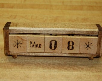 Hand made wood block perpetual desk calendar