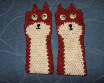 Hand Crocheted fox wrist warmers / fingerless gloves