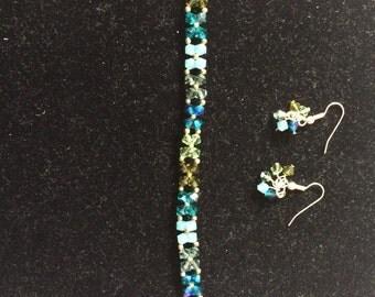 Green Swarovski Bracelet and Earring Set