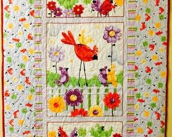 Baby Quilt Blanket Red Bird Lavendar Flowers