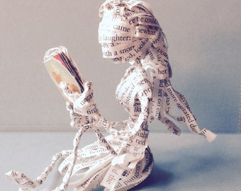 altered book, Book lover, book sculpture, war and peace, book art, sculpture, paper sculpture, reader, books, library, tolstoy, paper art