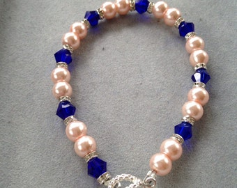 Pink Pearl Bracelet with navy crystals