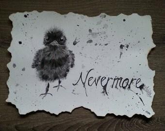 Original painting, Edgar Allan Poe art, Nevermore, fan art, home decor, original wall art, raven