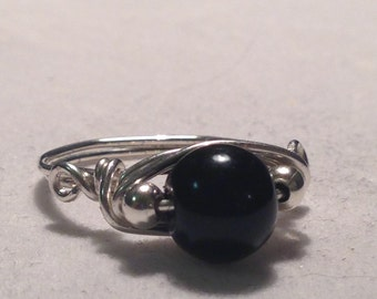 Sterling Silver Wire Wrapped Ring with black glass bead