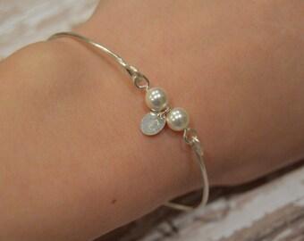 Custom Pearl Bangle Bracelet With Initial Charm