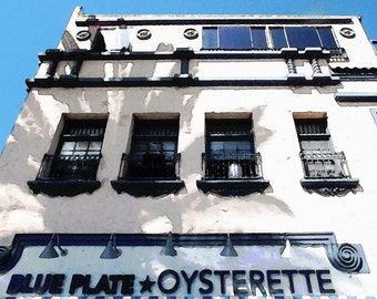 Watercolor Blue Plate Oysterette Building Architecture Palm Tree Shadow Balcony Color Fine Art Photograph Print Photography Digital Painting