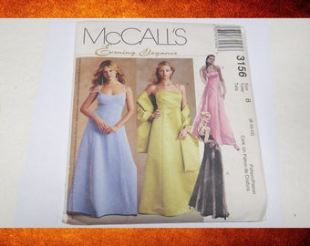 BIG SALE Sewing Pattern - McCalls 3156 Women Long Evening Gown Dress.  Size 8-12. #PAT-047