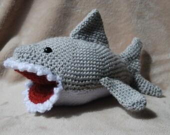 Sharky the crocheted shark, Amigurumi shark, gray and white crocheted shark, custom sea creature