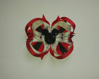 Mickey mouse sparkly loopy stacked boutique bow