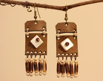 FREE SHIPPING handmade leather earrings womens leather jewelry