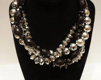 Black and Silver Strand Necklace