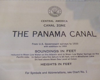 The Panama Canal ~ Canal Zone - Central America - Incredible detail including Miraflores Lake, Balboa Harbor, and Gaillard Cut - Chart, 1781