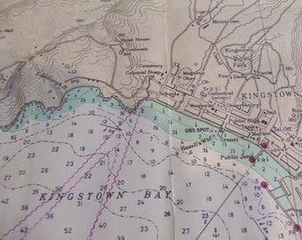 Kingstown, Greathead, and Calliaqua Bays ~ Saint Vincent, West Indies - From British Surveys in 1863 and 1887 - Nautical Chart  #1877
