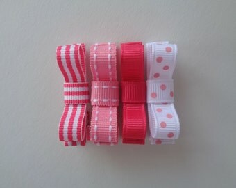Baby Hair Bow Clips - Pink, White, Polka Dots, Stripes