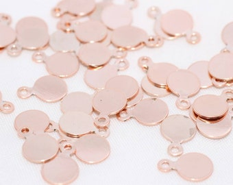 10Pcs Pink Gold Plated Pewter Sequin Findings 6mm Connector