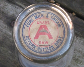 Vintage Duraglas Milk Bottle with Paper Cap
