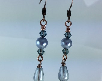 Light blue and copper drop earrings