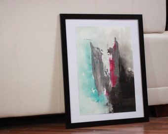 Stormcloud - Acryl abstract painting in black, blue, pink - Original artwork, fine art, hand made, unique, decorative, spring, colorful