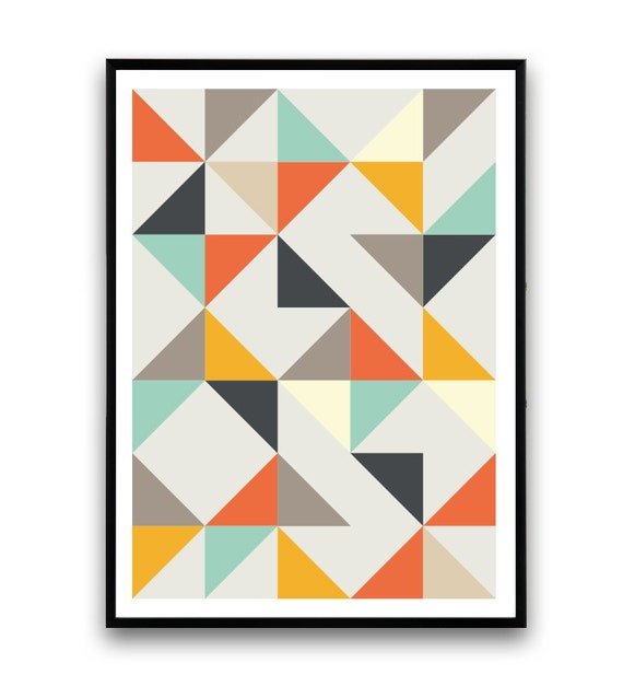 skandinavische print dreiecke drucken geometrische kunst. Black Bedroom Furniture Sets. Home Design Ideas