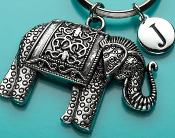 Elephant Keychain, Huge Indian Elephant Key Ring, Animal Charm, Initial Keychain, Personalized Keychain, Custom Keychain, H7