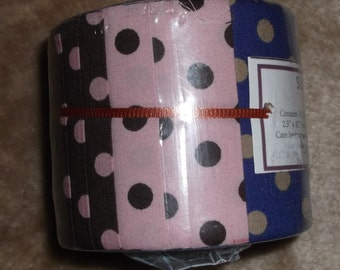 Lovely half Jelly Roll containing 20 strips of cotton fabric spots/pink/blue/chocolate