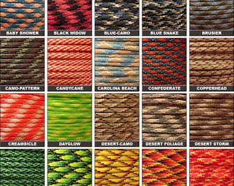 100ft of 550 Paracord Mil Spec Type III 7 strand parachute cord Fast Shipping made in the U.S.A. over 130 colors
