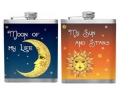 Game of Thrones Inspired Sun and Stars Moon of My Life Flask Set Valentines day ideas Personalized Custom Flask Valentines Gift
