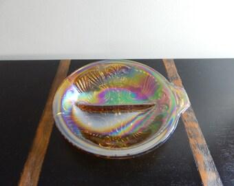 Vintage Carnival Glass Divided Dish