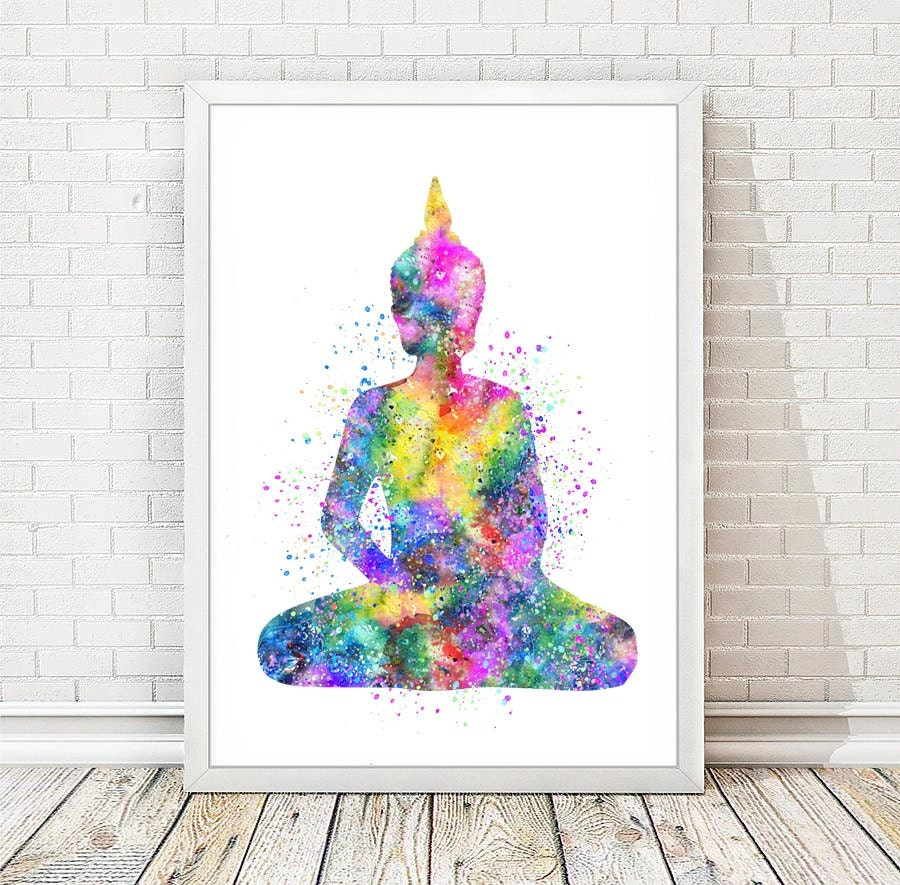 buddha print watercolor yoga poster abstract buddha statue. Black Bedroom Furniture Sets. Home Design Ideas