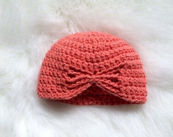 Crochet baby girl butterfly hat coral turban