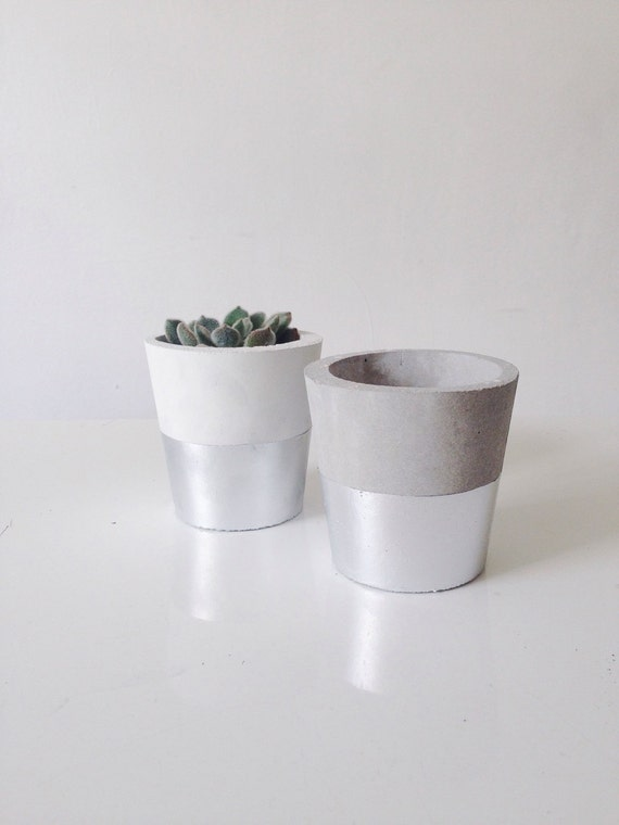 silver dipped small cement pots planters or candle by. Black Bedroom Furniture Sets. Home Design Ideas