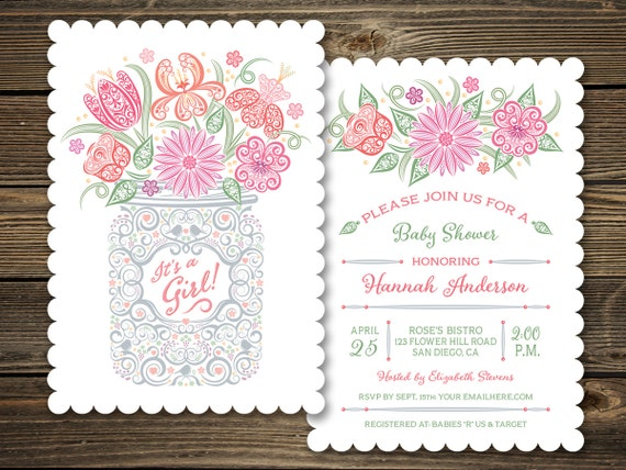 girl mason jar baby shower invitation it 39 s a girl unique floral