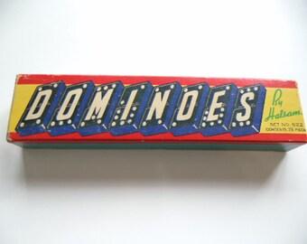 Vintage Halsam Dominoes Set Boxed 28 Pieces Set #622 - Dragon Back
