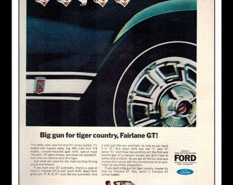 "Vintage Print Ad February 1966 : Ford Fairlane GT V-8 Wall Art Decor 8.5"" x 11"" Advertisement"