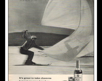 """Vintage Print Ad April 1962 : Walker's Deluxe Straight Bourbon Whiskey Parachute Skiing Wall Art Decor 8.5"""" x 11"""" Advertisement"""