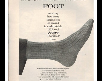 "Vintage Print Ad February 1963 : Jockey Socks ""This is Rock Hudson's Foot"" Fashion Clothing Wall Art Decor 8.5"" x 11"" Advertisement"