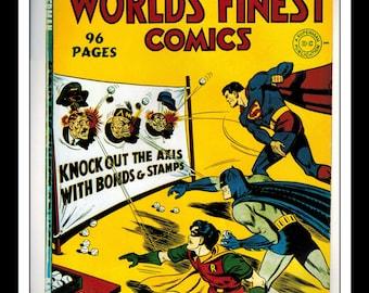 "Vintage Print Ad Comic Book Cover : World's Finest Comics #9 (Superman) / Batman #17 Illustration Dbl Sided Wall Art Decor 8"" x 10 3/4"""