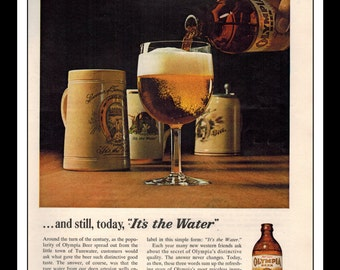 "Vintage Print Ad March 1964 : Olympia Beer ""It's The Water"" Wall Art Decor 8.5"" x 11"" Advertisement"