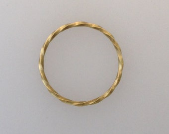 Solid 18k yellow gold twisted ring (LCR005)