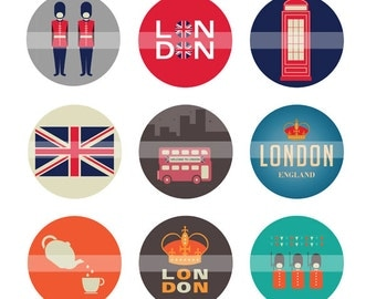 Instant Download - 4x6 United Kingdom London Bottle Cap Digital Sheet (Suitable for Scrapbook, Hairbows, Stickers, Magnets)