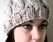 Hand-made, chunky knit, soft winter bobble hat