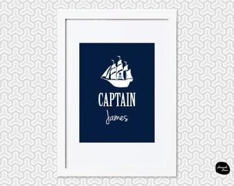 CAPTAIN WALL ART ~ Personalised - Home Decor Print - Pirate Ship Design - Printable File