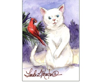 White Cat in Snow by llmartin Original ACEO Painting Cardinal SantasSongBird Red Bird Artwork