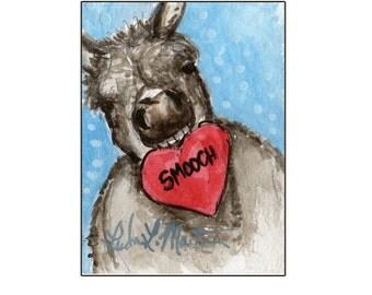 Gray Burro Smoochie Valentines Day llmartin Original ACEO  Watercolor